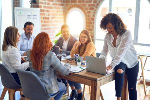 Group,Of,Business,Workers,Working,Together.,Middle,Age,Beautiful,Businesswoman